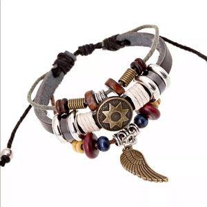 5/$25 ✴️ Leather Beaded Charm Bracelet